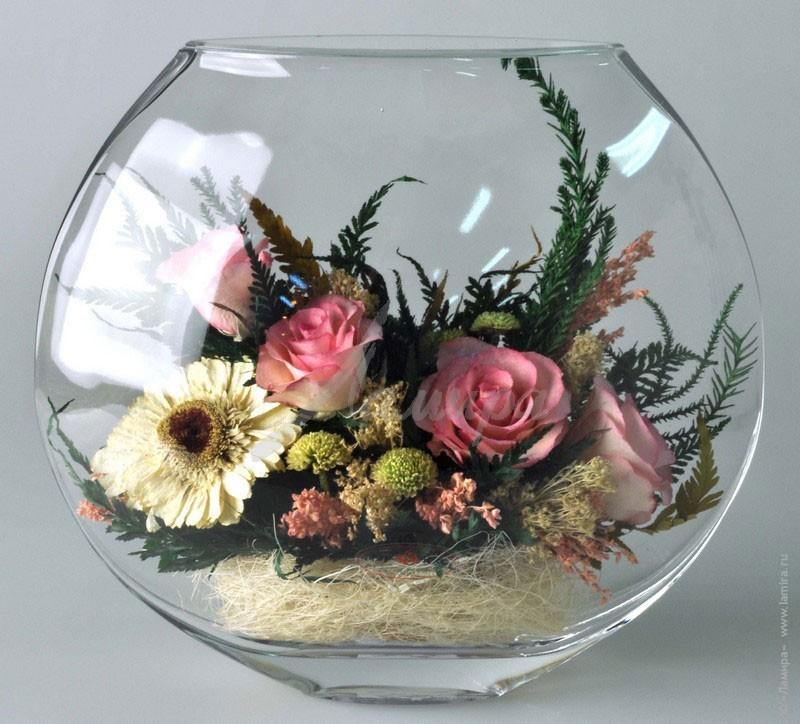 Круглая стеклянная ваза своими руками